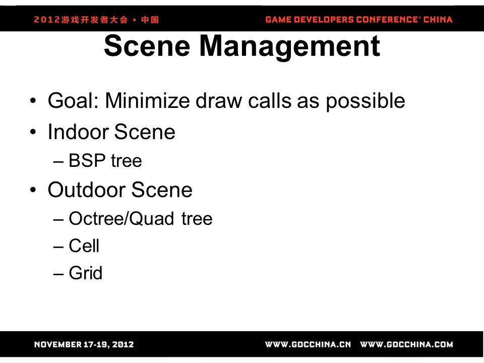 Scene Management Goal: Minimize draw calls as possible Indoor Scene –BSP tree Outdoor Scene –Octree/Quad tree –Cell –Grid