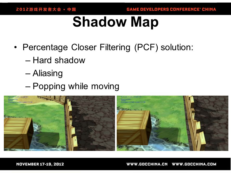 Percentage Closer Filtering (PCF) solution: –Hard shadow –Aliasing –Popping while moving
