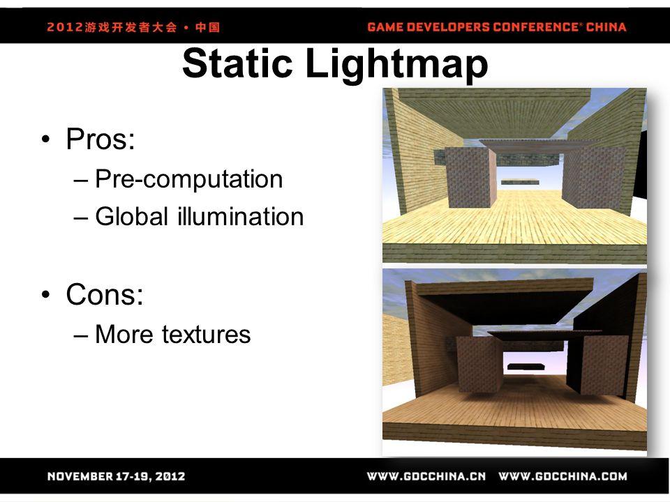 Static Lightmap Pros: –Pre-computation –Global illumination Cons: –More textures
