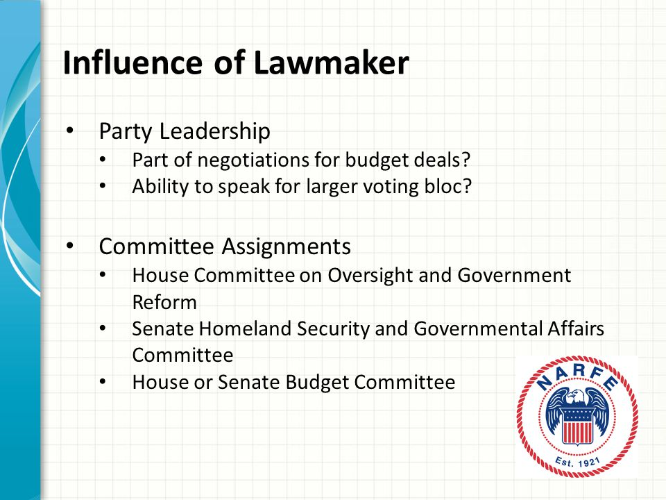 Influence of Lawmaker Party Leadership Part of negotiations for budget deals.