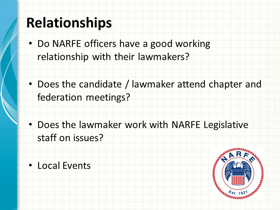 Relationships Do NARFE officers have a good working relationship with their lawmakers.