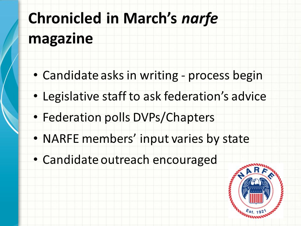 Chronicled in March's narfe magazine Candidate asks in writing - process begin Legislative staff to ask federation's advice Federation polls DVPs/Chapters NARFE members' input varies by state Candidate outreach encouraged