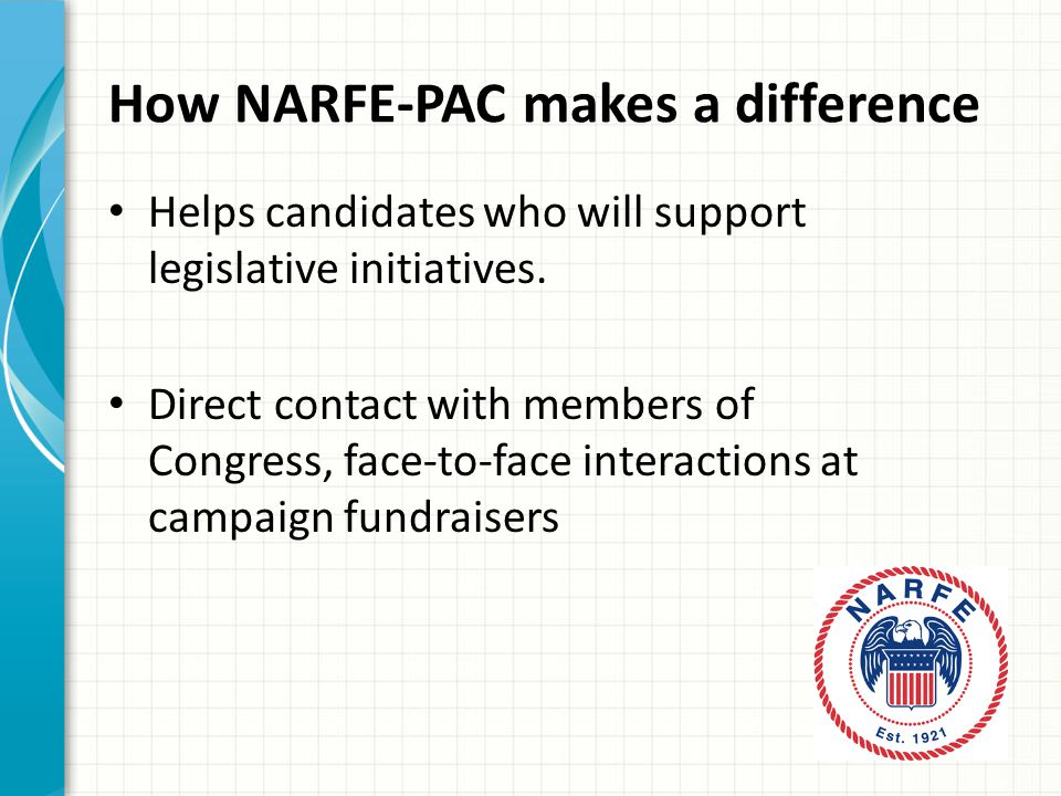 How NARFE-PAC makes a difference Helps candidates who will support legislative initiatives.
