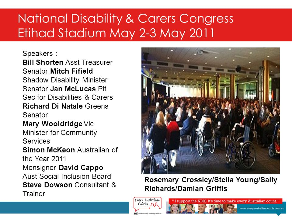 National Disability & Carers Congress Etihad Stadium May 2-3 May 2011 Speakers : Bill Shorten Asst Treasurer Senator Mitch Fifield Shadow Disability Minister Senator Jan McLucas Plt Sec for Disabilities & Carers Richard Di Natale Greens Senator Mary Wooldridge Vic Minister for Community Services Simon McKeon Australian of the Year 2011 Monsignor David Cappo Aust Social Inclusion Board Steve Dowson Consultant & Trainer Rosemary Crossley/Stella Young/Sally Richards/Damian Griffis