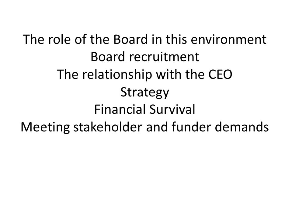 The role of the Board in this environment Board recruitment The relationship with the CEO Strategy Financial Survival Meeting stakeholder and funder demands