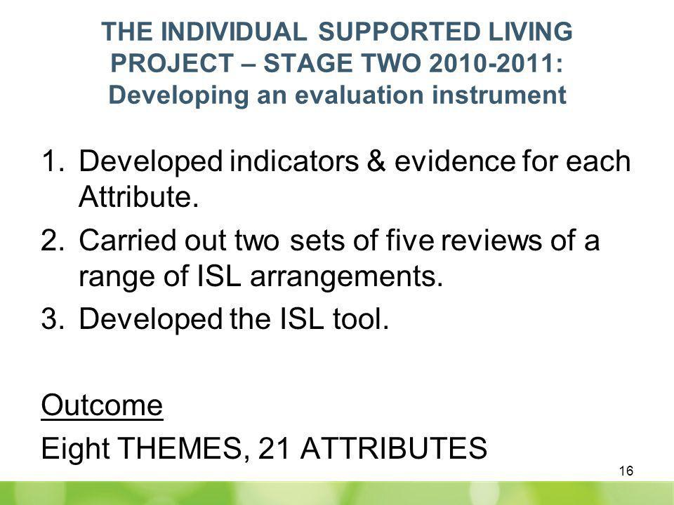 THE INDIVIDUAL SUPPORTED LIVING PROJECT – STAGE TWO 2010-2011: Developing an evaluation instrument 1.Developed indicators & evidence for each Attribute.