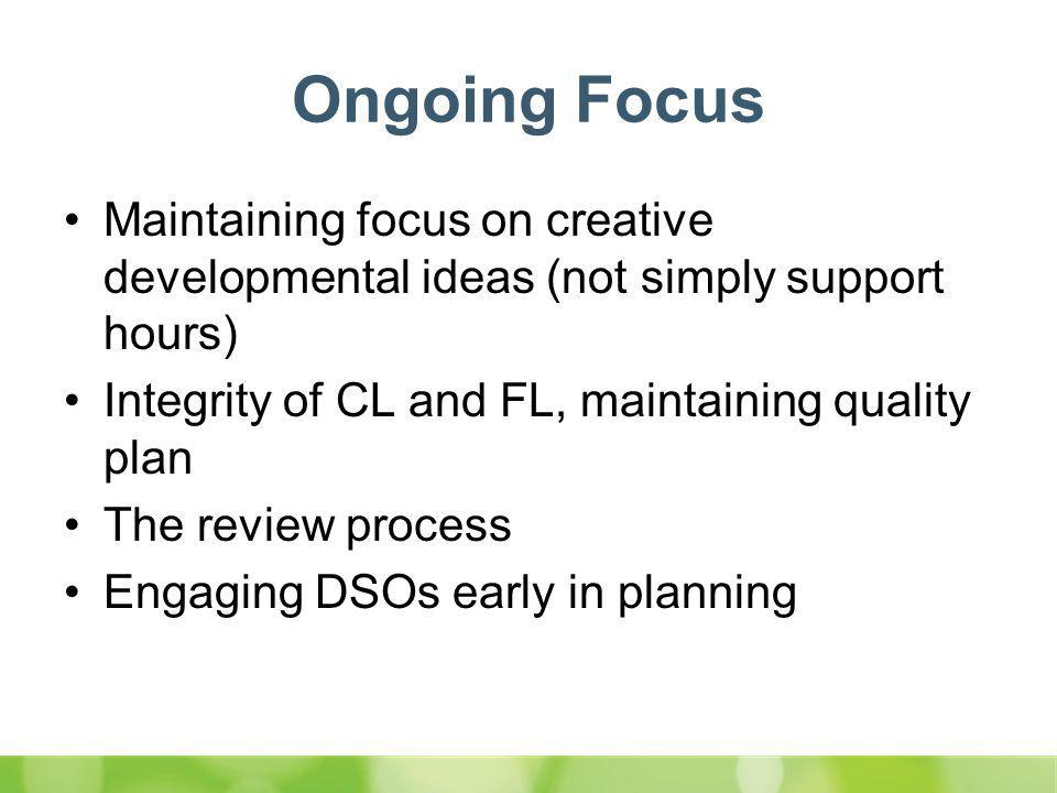 Ongoing Focus Maintaining focus on creative developmental ideas (not simply support hours) Integrity of CL and FL, maintaining quality plan The review process Engaging DSOs early in planning Cont'd