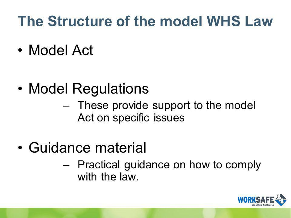 The Structure of the model WHS Law Model Act Model Regulations –These provide support to the model Act on specific issues Guidance material –Practical guidance on how to comply with the law.