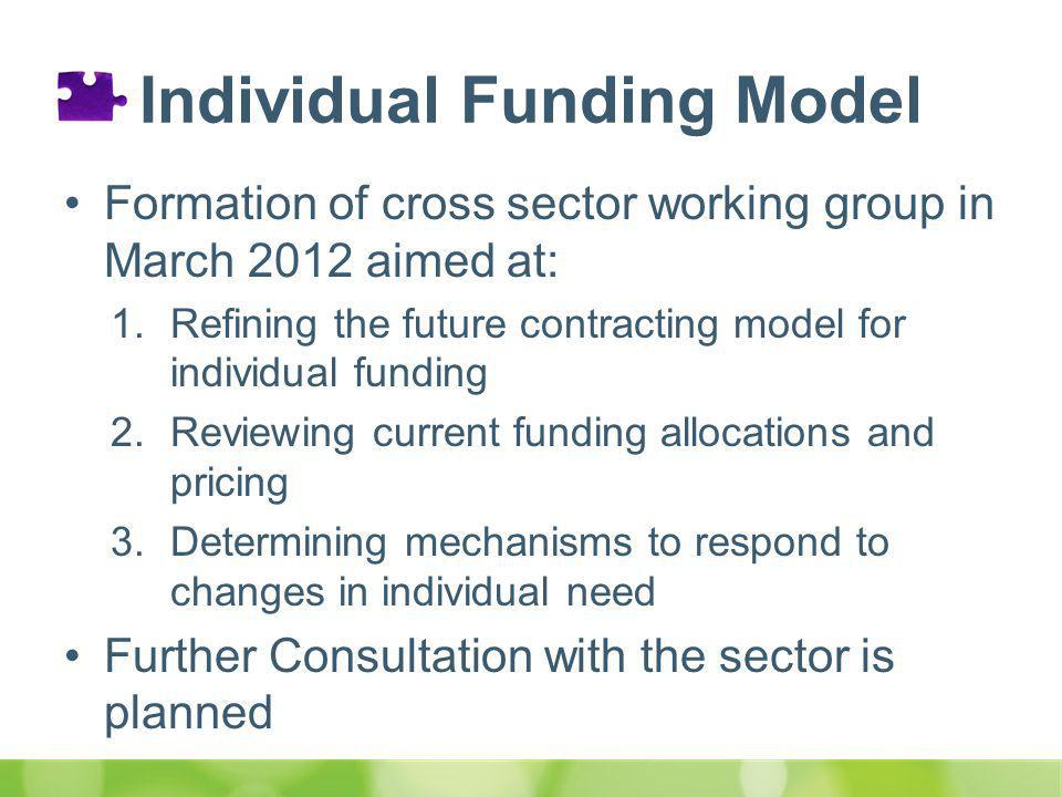 Individual Funding Model Formation of cross sector working group in March 2012 aimed at: 1.Refining the future contracting model for individual funding 2.Reviewing current funding allocations and pricing 3.Determining mechanisms to respond to changes in individual need Further Consultation with the sector is planned
