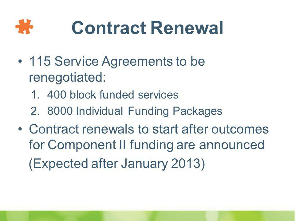 Contract Renewal 115 Service Agreements to be renegotiated: 1.400 block funded services 2.8000 Individual Funding Packages Contract renewals to start after outcomes for Component II funding are announced (Expected after January 2013)