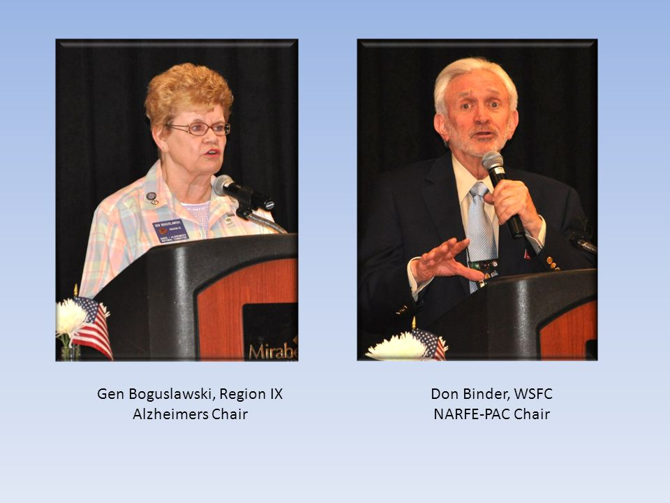 Gen Boguslawski, Region IX Alzheimers Chair Don Binder, WSFC NARFE-PAC Chair