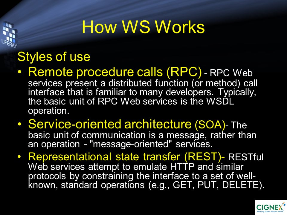 Web Services in Action HTTP, HTTPS, SMTP XML, SOAP, Addressing XSD,WSDL,UDDI,Policy,Metadata Exchange BPEL4WS / WS-BPEL Transports Messaging Transports Composable service assurances Transactions Reliable messaging Security