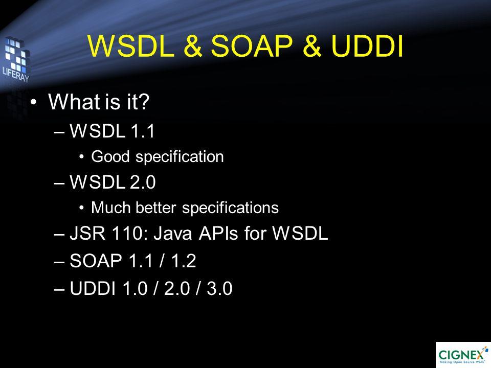 An Example in Liferay Alfresco Content UI: Add content: Alfresco Content Link: com.liferay.portlet.alfrescocontent.util.AlfrescoContentUtil org.alfresco.webservice.* at alfresco_client.jar URL: PropsUtil.ALFRESCO_CONTENT_SERVER_URL; Page: portal/portal-web/html/portlet/alfresco_content/init.jsp Portlet Type: Struts portlet at portal/portal-ejb/src com.liferay.portlet.alfrescocontent.action com.liferay.portlet.alfrescocontent.util