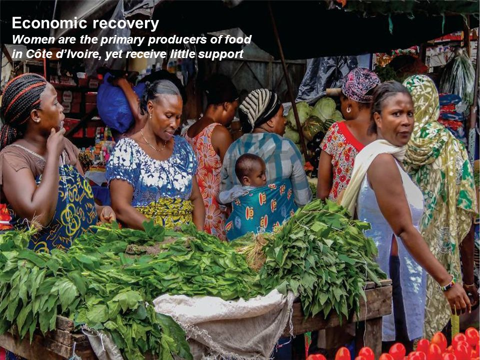 Economic recovery Women are the primary producers of food in Côte d'Ivoire, yet receive little support