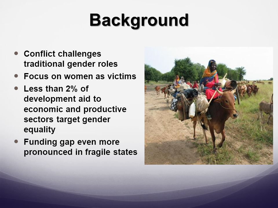 Background Conflict challenges traditional gender roles Focus on women as victims Less than 2% of development aid to economic and productive sectors target gender equality Funding gap even more pronounced in fragile states