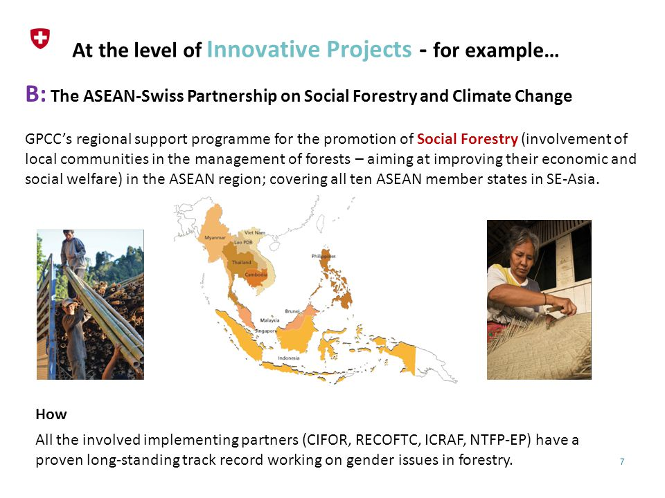 7 At the level of Innovative Projects - for example… B: The ASEAN-Swiss Partnership on Social Forestry and Climate Change GPCC's regional support programme for the promotion of Social Forestry (involvement of local communities in the management of forests – aiming at improving their economic and social welfare) in the ASEAN region; covering all ten ASEAN member states in SE-Asia.