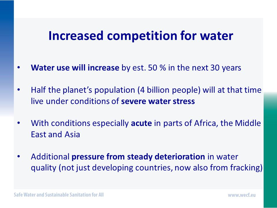Increased competition for water Water use will increase by est.