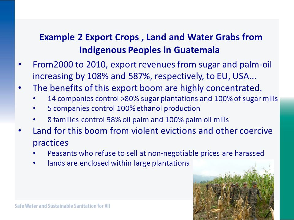 Example 2 Export Crops, Land and Water Grabs from Indigenous Peoples in Guatemala From2000 to 2010, export revenues from sugar and palm-oil increasing by 108% and 587%, respectively, to EU, USA...