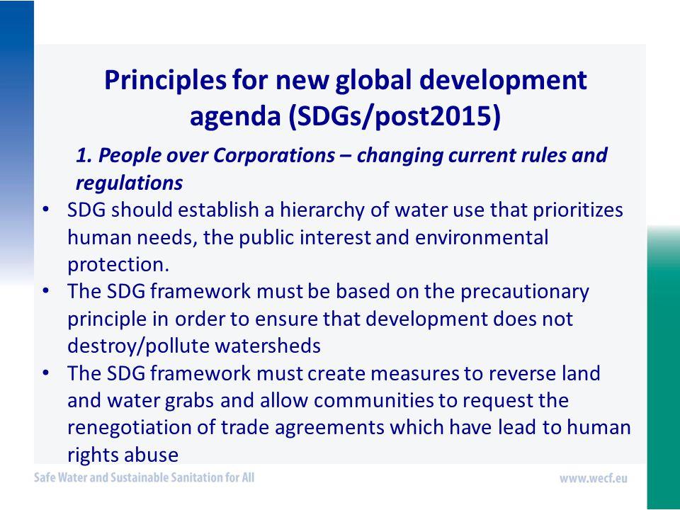Principles for new global development agenda (SDGs/post2015) 1.