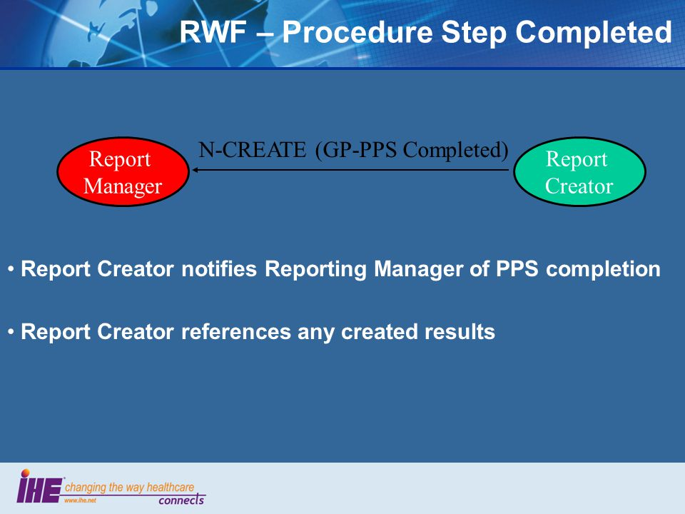 Report Creator notifies Reporting Manager of PPS completion Report Creator references any created results N-CREATE (GP-PPS Completed) Report Manager Report Creator RWF – Procedure Step Completed