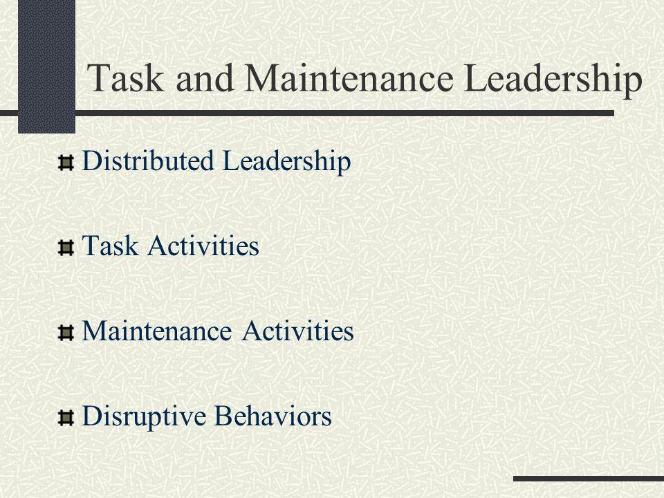 Task and Maintenance Leadership Distributed Leadership Task Activities Maintenance Activities Disruptive Behaviors