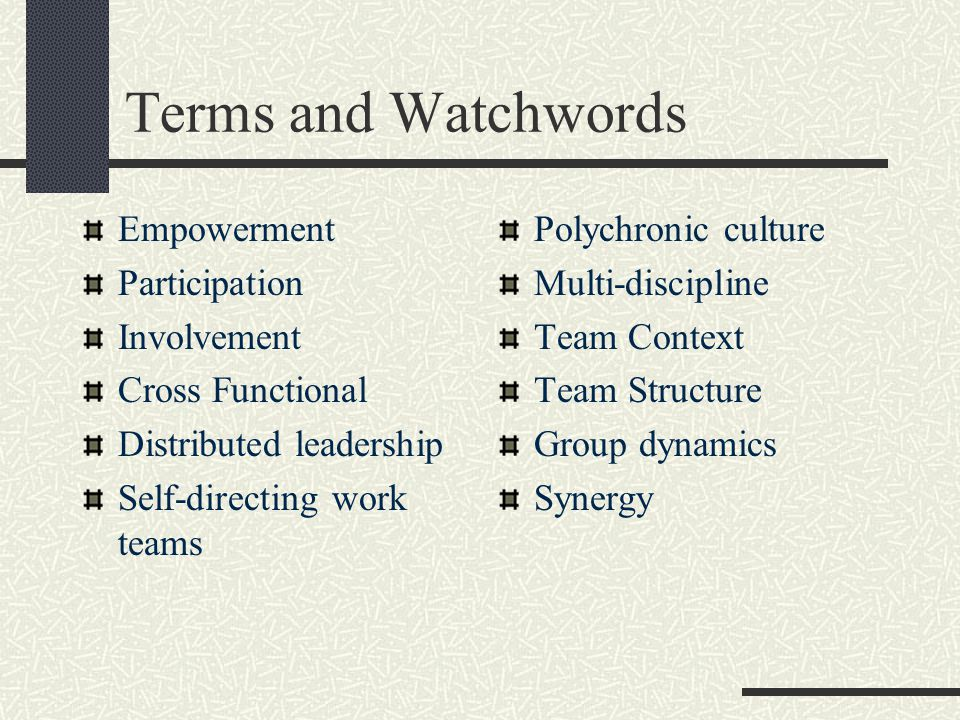 Terms and Watchwords Empowerment Participation Involvement Cross Functional Distributed leadership Self-directing work teams Polychronic culture Multi-discipline Team Context Team Structure Group dynamics Synergy