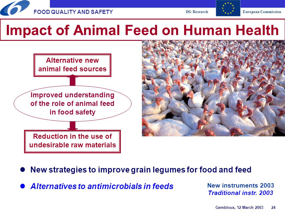 DG ResearchEuropean Commission Gembloux, 12 March 2003 24 FOOD QUALITY AND SAFETY Impact of Animal Feed on Human Health Reduction in the use of undesirable raw materials Alternative new animal feed sources Improved understanding of the role of animal feed in food safety lNew strategies to improve grain legumes for food and feed lAlternatives to antimicrobials in feeds New instruments 2003 Traditional instr.