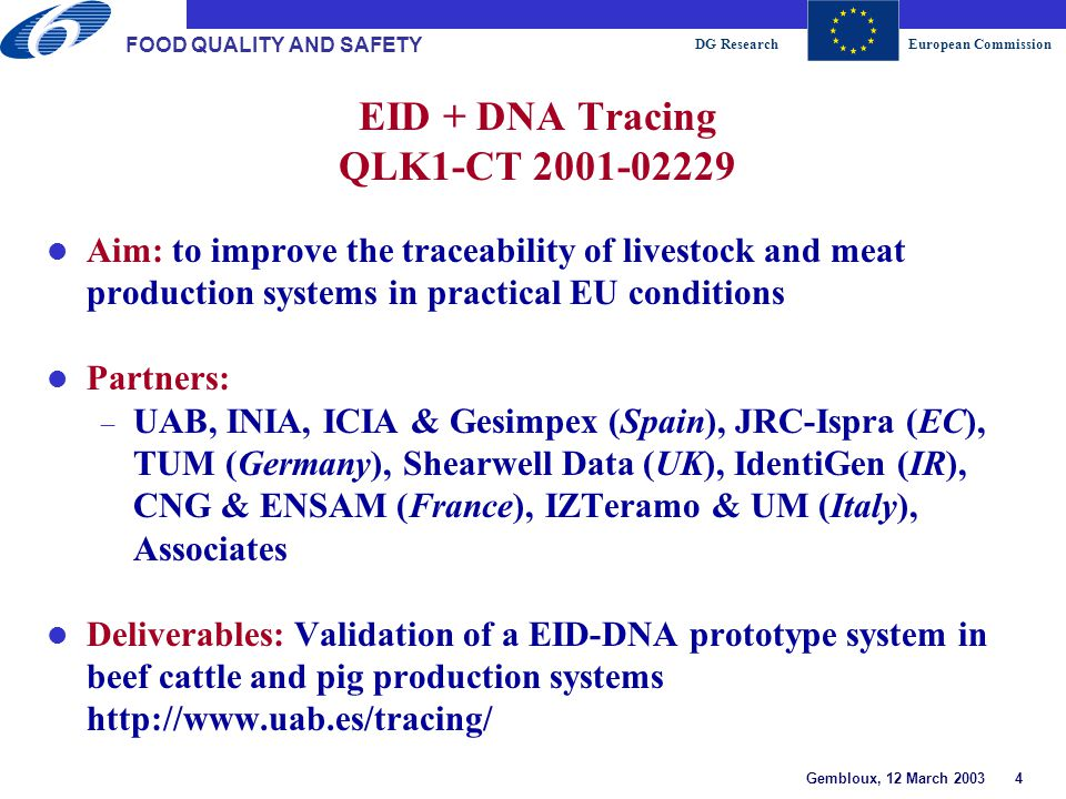 DG ResearchEuropean Commission Gembloux, 12 March 2003 5 FOOD QUALITY AND SAFETY Intellitracker QLRT-2001-02257 Aim: to produce a flexible, robust and easy to use system for marking carcasses and their associated products with a unique robust mark at several anatomical locations in a single operation Partners:  Bradman Lake Ltd (UK), NWK Binaer (Germany), RVSI Europe (UK), Alligau Fleisch (Germany), Berghammer (Austria), Lloyd Maunder (UK) Deliverables: A working demonstrator system for generating a machine readable mark/code/ID suitable for application to meat carcasses, primals and products.