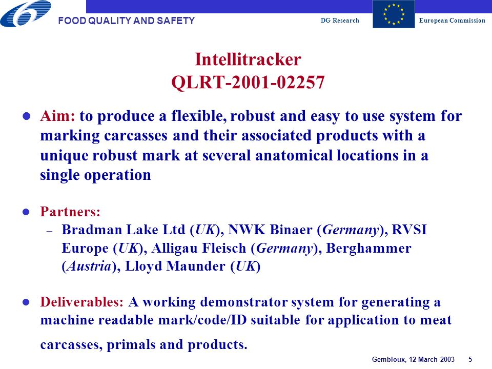 DG ResearchEuropean Commission Gembloux, 12 March 2003 16 FOOD QUALITY AND SAFETY Total Food Chain lFood from low input and organic production systems lQuality seafood for improved consumer health and well-being lPathogen-free production systems Primary production Food industry High-quality and -safety foods with health benefits Inputs Retail sector Quality aspects Safety aspects Consumers New instrument 2003 Traditional instr.