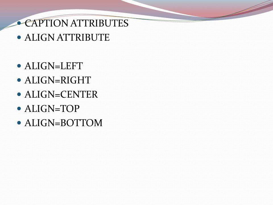 CAPTION ATTRIBUTES ALIGN ATTRIBUTE ALIGN=LEFT ALIGN=RIGHT ALIGN=CENTER ALIGN=TOP ALIGN=BOTTOM