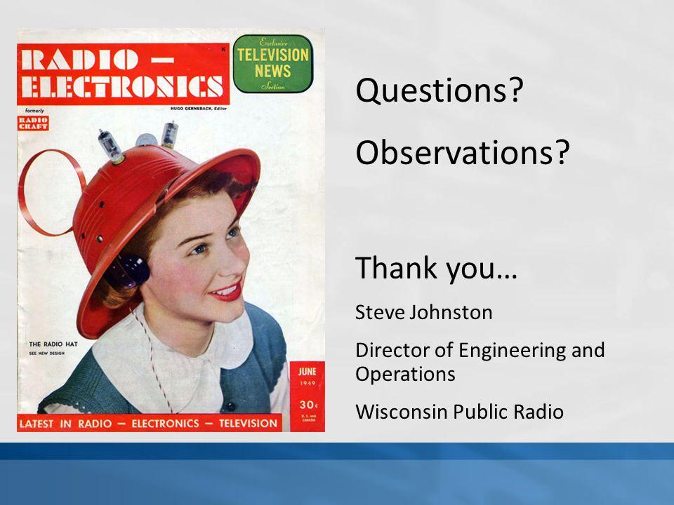 Questions. Observations.