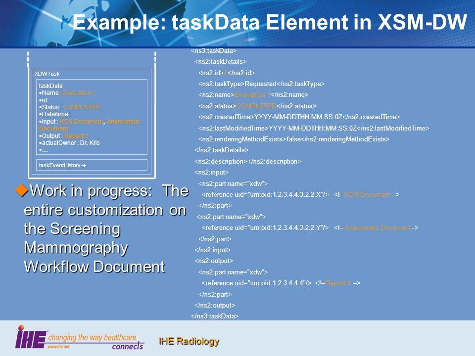 IHE Radiology Example: taskData Element in XSM-DW 3 Requested Evaluation 1 COMPLETED YYYY-MM-DDTHH:MM:SS.0Z false XDWTask taskEventHistory  taskData