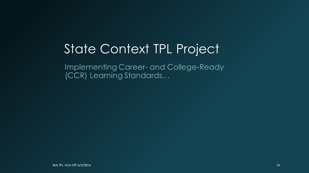State Context TPL Project Implementing Career- and College-Ready (CCR) Learning Standards… WA TPL Kick Off 6/2/201410