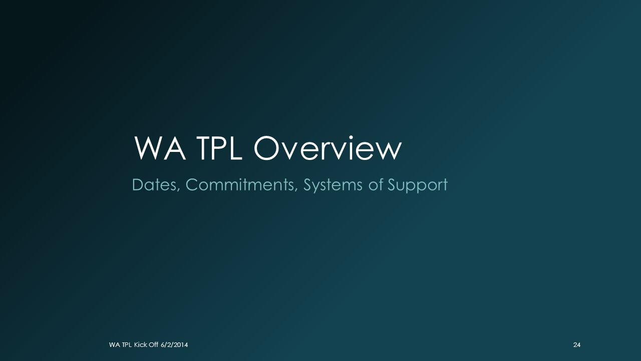 WA TPL Overview Dates, Commitments, Systems of Support WA TPL Kick Off 6/2/201424