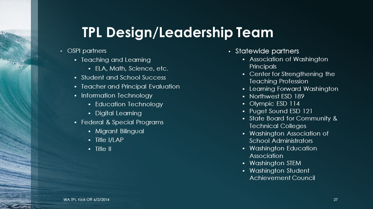 TPL Design/Leadership Team OSPI partners  Teaching and Learning  ELA, Math, Science, etc.  Student and School Success  Teacher and Principal Evalu