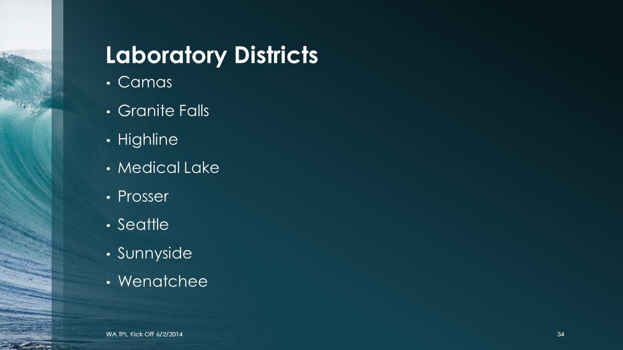 Laboratory Districts Camas Granite Falls Highline Medical Lake Prosser Seattle Sunnyside Wenatchee WA TPL Kick Off 6/2/201434