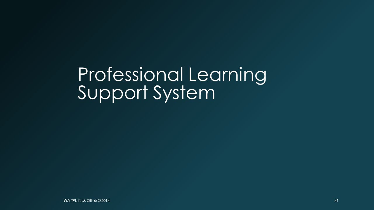 Professional Learning Support System WA TPL Kick Off 6/2/201441