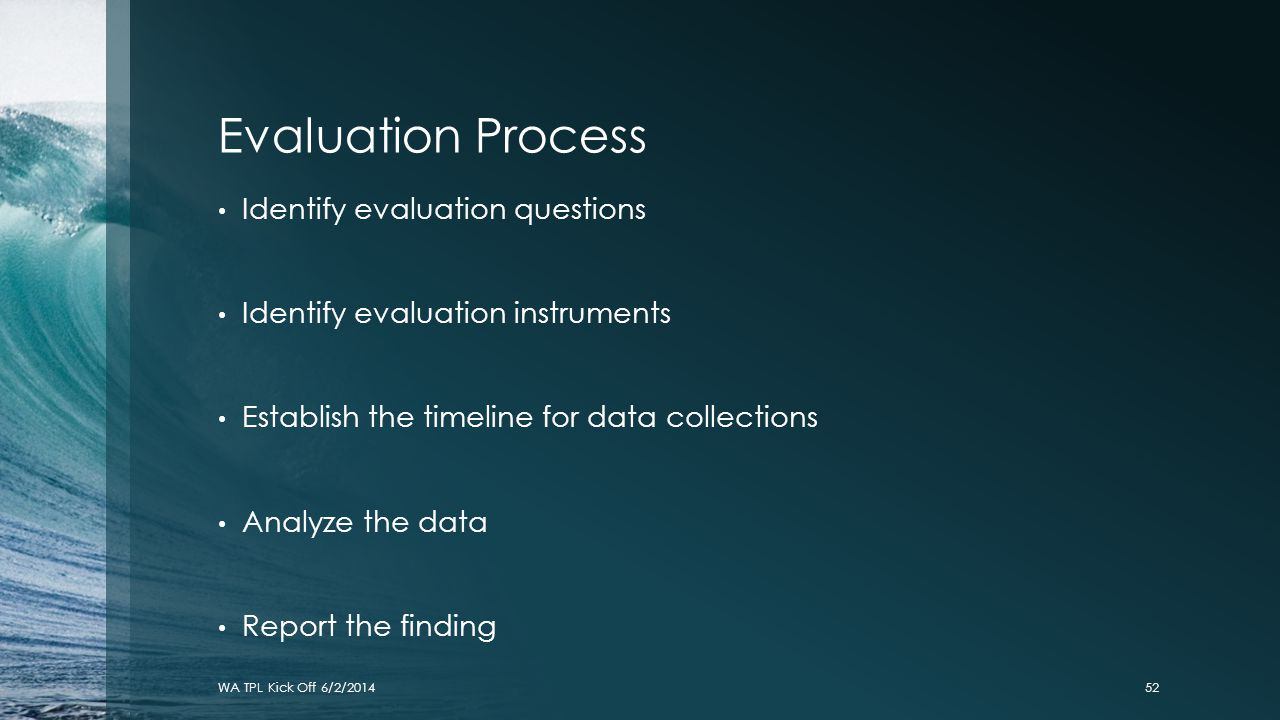 Evaluation Process Identify evaluation questions Identify evaluation instruments Establish the timeline for data collections Analyze the data Report t