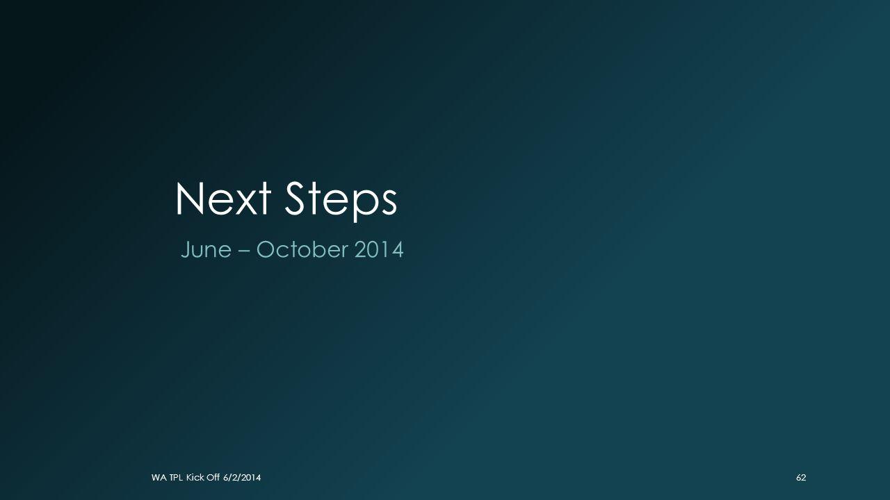 Next Steps June – October 2014 WA TPL Kick Off 6/2/201462