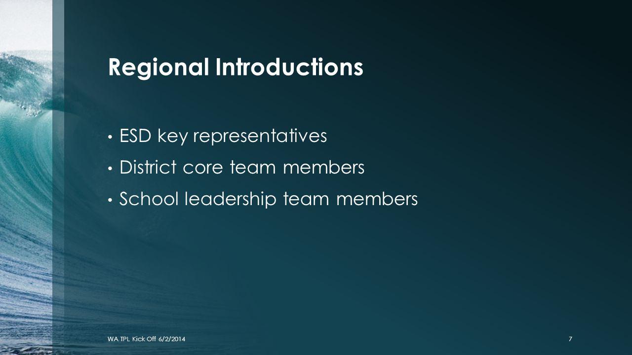 Regional Introductions ESD key representatives District core team members School leadership team members WA TPL Kick Off 6/2/20147