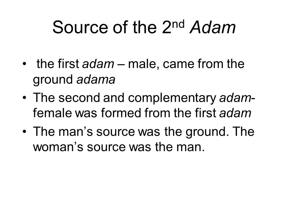 Source of the 2 nd Adam the first adam – male, came from the ground adama The second and complementary adam- female was formed from the first adam The