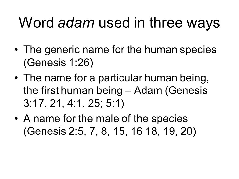 Word adam used in three ways The generic name for the human species (Genesis 1:26) The name for a particular human being, the first human being – Adam