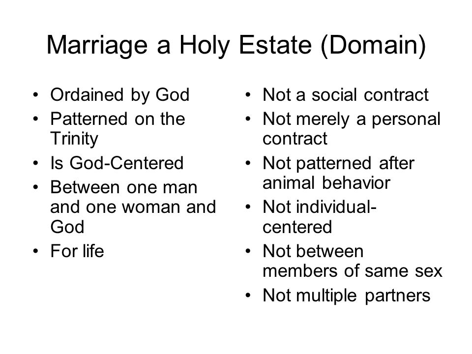 Marriage a Holy Estate (Domain) Ordained by God Patterned on the Trinity Is God-Centered Between one man and one woman and God For life Not a social c