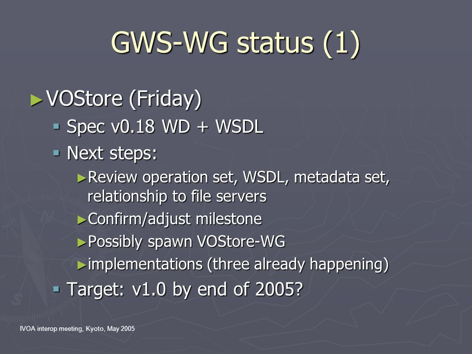 IVOA interop meeting, Kyoto, May 2005 GWS-WG status (1) ► VOStore (Friday)  Spec v0.18 WD + WSDL  Next steps: ► Review operation set, WSDL, metadata
