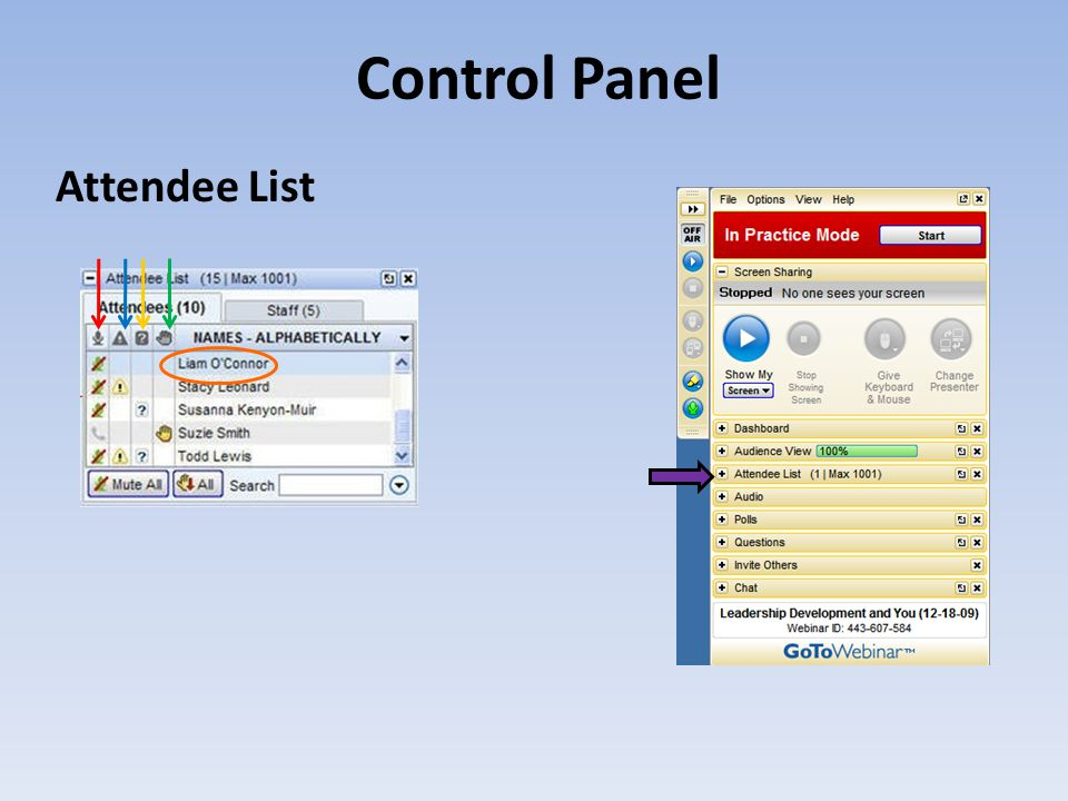Control Panel Attendee List