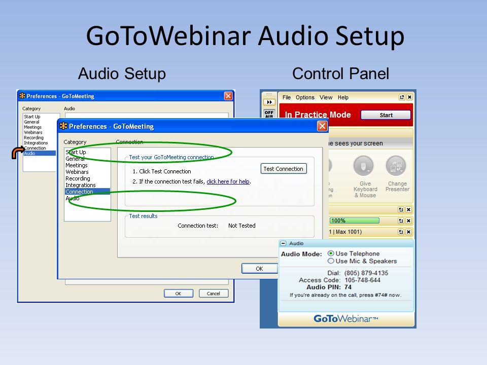 GoToWebinar Audio Setup Control PanelAudio Setup
