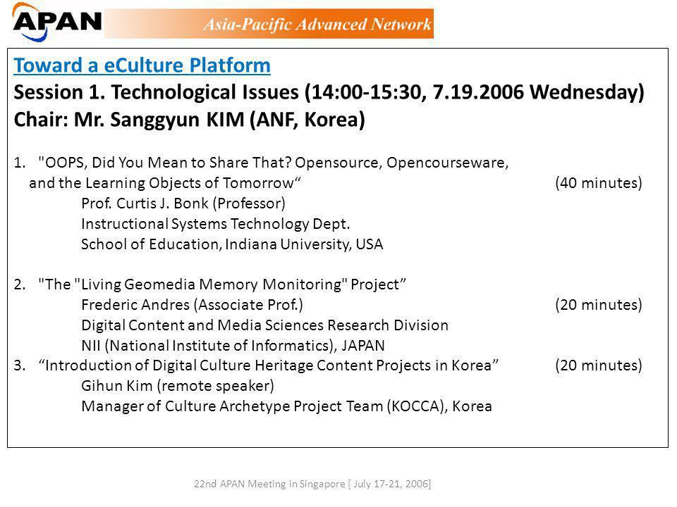 Toward a eCulture Platform Session 1.