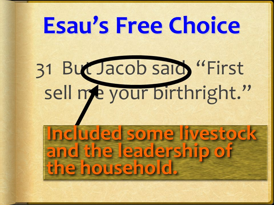 Esau'sFreeChoice Esau's Free Choice 31 But Jacob said, First sell me your birthright. Included some livestock and the leadership of the household.