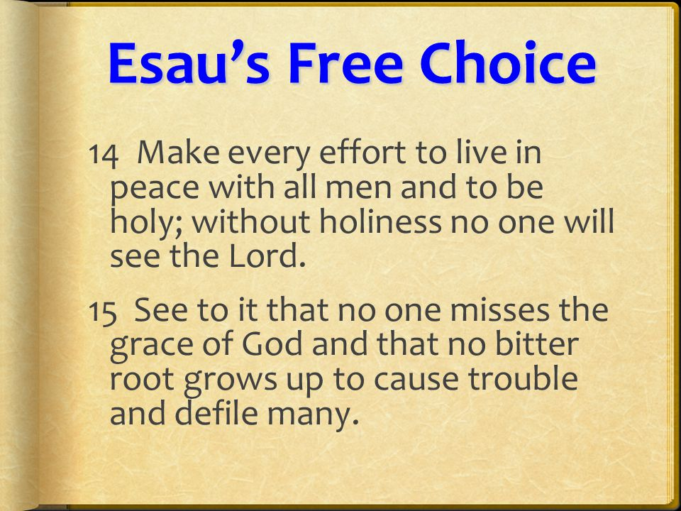 Esau'sFreeChoice Esau's Free Choice 16 See that no one is sexually immoral, or is godless like Esau, who for a single meal sold his inheritance rights as the oldest son.