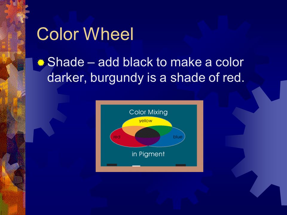 Color Wheel  Shade – add black to make a color darker, burgundy is a shade of red.